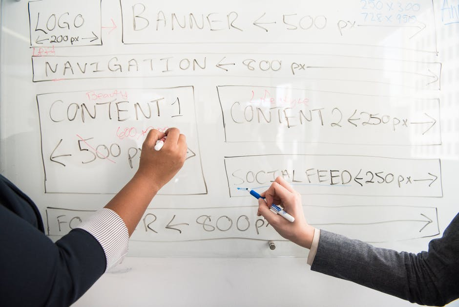Two people writing on whiteboard