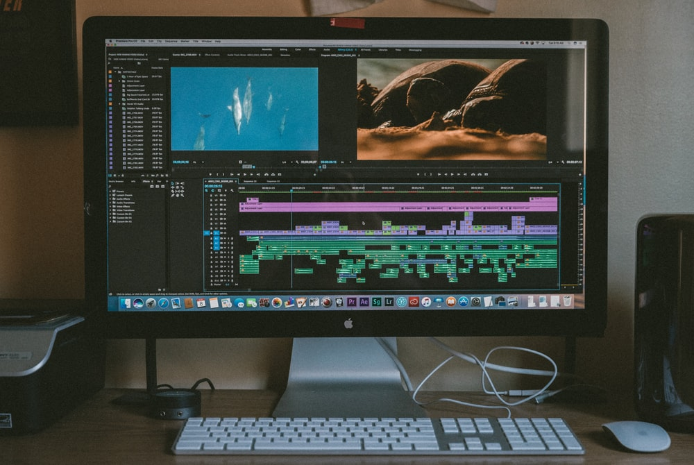 Computer monitor showing video editing software